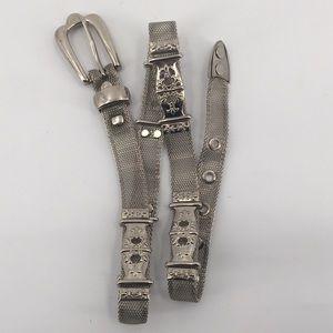 "Vintage Silver Metal Mesh Ornate Belt 31"""